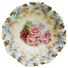 """Simply Gorgeous RS Prussia Vintage 1900 """"Red & Pink Roses"""" 10-1/2"""" Grape Mold Eight Dome Floral Bowl"""