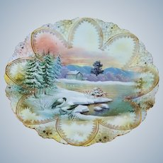 "Just Stunning & Scarce RS Prussia 1900's ""Pair of Snowbirds"" Scenic Plate"