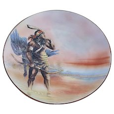 "Exceptional & Scarce Nippon 1900's Hand Painted ""Native American Indian Hunter"" 10-1/2"" Blown Out Decor Scenic Charger"