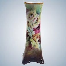"Gorgeous Vintage Heinrich & Co. Bavaria & N.A. Ray Studio 1900's Hand Painted ""White, Red, & Burnt Orange Poppy"" 13"" Floral Vase by Pickard Artist, ""Noble Ray"""