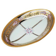 """Gorgeous Vintage Hutschenreuther Bavaria & Rivir Studio of Chicago 1920's Hand Painted Art Deco """"Pink Tulips"""" 9-3/4"""" Gold & Silver Floral Tray"""