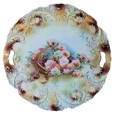 "Beautiful RS Prussia Vintage 1900 ""Basket of Roses"" 11"" Plume Mold Floral Plate"