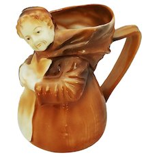 "Charming Royal Bayreuth Vintage 1900 Hand Painted ""Monk"" 4-1/4"" Figural Cream Pitcher"