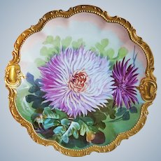 "Stunning Comte D'Artois Limoges France 1900's Hand Painted ""Red & Pink Zinnias"" 11"" Floral Charger, Artist Signed"