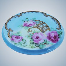 "Simply Gorgeous Ornate Vienna Austria 1900's Hand Painted ""Pink Roses"", on Lattice, Floral Trivet"