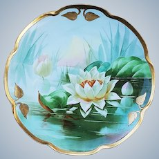 "Fabulous Haviland France &  J.H. Stouffer Studio of Chicago 1906 Hand Painted ""Water Lily"" 8-1'2"" Floral Plate by Artist, ""Samuel Heap"""