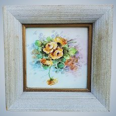 "Beautiful Weisley Studio 1920-30's Hand Painted ""Yellow Roses"" 6"" x 6"" Floral Tile in Custom Frame by Listed Artist, ""Josef Henke"""
