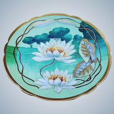 "Stunning Vintage Coronet Limoges France 1900's Hand Painted ""White Water Lily"" Floral Plate by French Artist, ""Baird"""