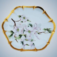 "Charming Tressemann & Vogt 1900 Hand Painted ""White Morning Glory"" with Heavy 22 K Gold Accenting 6-Sided Floral Plate"
