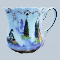 """Scare RS Prussia 1900 """"Runner Duck in the Evergreens"""" 3-1/2"""" Scenic Shaving Mug"""