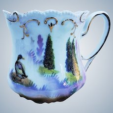 "Scare RS Prussia 1900 ""Runner Duck in the Evergreens"" 3-1/2"" Scenic Shaving Mug"