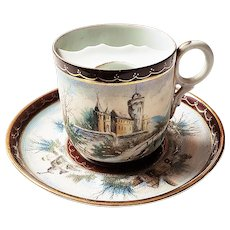 """Scarce Royal Bayreuth Vintage 1900 Hand Painted """"Castle Scenes"""" Tapestry Mustache Cup & Saucer"""