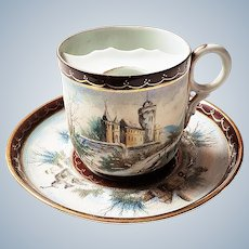 "Scarce Royal Bayreuth Vintage 1900 Hand Painted ""Castle Scenes"" Tapestry Mustache Cup & Saucer"