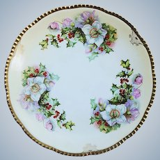 "Royal Rudolstadt 1900's ""Christmas Roses with Holly & Berry"" 8-1/2"" Floral Plate"