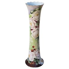 """Stunning Willets Belleek 15-5/8"""" 1900's Hand Painted """"White Roses"""" Tall Floral Vintage Vase"""