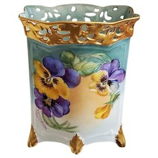 "Gorgeous Bavaria 1900's Hand Painted ""Purple & Yellow Pansy"" 6-Footed & Reticulated Floral Cache Pot, by Artist, ""Kathryn Becker"""