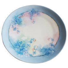 "Charming Vintage Heinrich & Co. Selb Bavaria 1900's Hand Painted ""Forget Me Not"" 8-1/4"" Floral Plate by the Artist, ""Russell"""