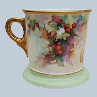 "Scarce William Guerin Limoges France Vintage 1900's Hand Painted Christmas ""Holly & Berry"" 3-1/2"" Shaving Mug"