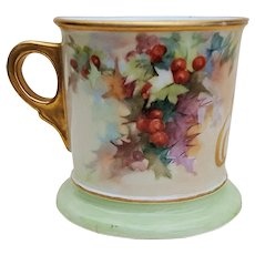 """Scarce William Guerin Limoges France Vintage 1900's Hand Painted Christmas """"Holly & Berry"""" 3-1/2"""" Shaving Mug"""