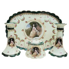 "Scarce & Beautiful Vintage RS Prussia [OS] 1900 ""Lady With the Dog"" 5-Pc Portrait Dresser Set by ""Gainsborough"""