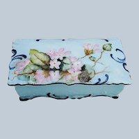 "Beautiful Vintage Bavaria 1900's Hand Painted ""Pink Violets"" Floral Stamp Box"