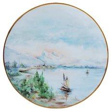 "Beautiful Bavaria 1900's Hand Painted ""Sailboats in Bay"" 6"" Scenic Trivet by Artist, ""Caroline Brietzke"""