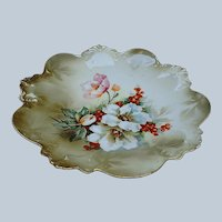 """Exceptional Vintage RS Prussia 1900's """"Christmas Roses & Holly & Berry"""" 9"""" Floral Plate"""