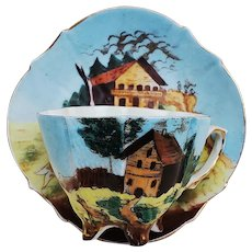 "Outstanding Vintage Royal Bayreuth 1890's Hand Painted Scenic Souvenir Advertising ""House in the Country"" Demi-Cup & Saucer ""Present from Jersey"""