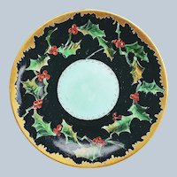 "Gorgeous Vintage Jean Pouyat Limoges France 1900 Hand Painted Christmas ""Holly & Berry"" Scenic 8-1/2"" Plate"