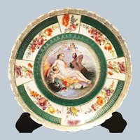 "Stunning 11-1/2"" Boucher's Vintage RS Prussia [OS] 1900 Picturesque ""Lovers Amphitrite & Poseidon"" Scenic Charger"