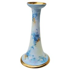 """Gorgeous Vintage Vienna Austria 1900's Hand Painted """"Forget Me Not"""" 8"""" Floral Candlestick Holder"""