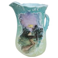 """Charming Vintage Limoges France 1890's Hand Painted """"Country Homes"""" 8"""" Double Scenic Vase by the Artist, """"N. Lebow"""""""