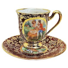 """Beautiful Vintage Tolpin Art Studio of Chicago 1940's Hand Painted """"Courting Couples"""" Scenic Demitasse Cup & Saucer"""