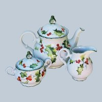 "Charming MZ Czechoslovakia 1900's Hand Painted ""Holly & Berry"" Christmas 3-Pc Tea Set, by Artist, ""T. Koenig"""