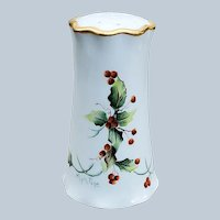 "Wonderful Bavaria 1900's Hand Painted Christmas ""Holly & Berry"" 5"" Floral Sugar Shaker by Artist, ""Myra Page"""