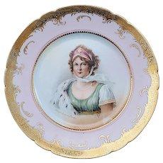 "Gorgeous Vintage Germany 1900's Hand Painted ""Konigin Luise von Preussen"" 8"" Portrait Plate by Artist, ""T. Digt"""