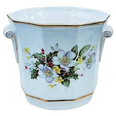 "James Sadler & Sons 1900's ""Christmas Roses with Holly & Berry"" 6"" Eight Sided Floral Jardiniere Planter"