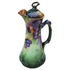 """Stunning 12"""" Jean Pouyat Limoges France 1900's Hand Painted """"Violets"""" Floral Chocolate Pot by Artist, """"D Dickerson"""""""