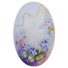 "Gorgeous 9-1/4"" Bavaria 1900's Hand Painted ""Violets"" Floral Plaque by Artist, ""Lorraine Arson"""