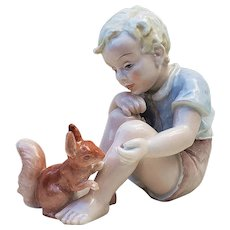 "Exceptional Vintage Rosenthal Kunstabteilung Selb Germany 1930's Hand Painted ""Little Boy Feeding a Squirrel"" Porcelain Figurine"
