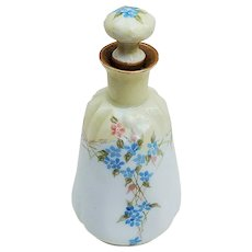 "Gorgeous Vintage William Guerin Limoges France 1900's Hand Painted ""Forget Me Not & Violets"" Floral Perfume Bottle"