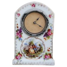 """Wonderful Vintage RS Prussia [ES] 1890's """"Courting Couple and Wild Flowers"""" Scenic Clock"""