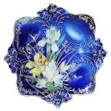 """Stunning Vintage RS Prussia 1900 """"Yellow & White Water Lily"""" Cobalt Blue 3-Footed Floral Lily Mold Bowl"""