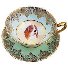 """Scarce Paragon 1920's HM Queen Mary Fine China Hand Painted """"Portrait of a Bloodhound"""" Cup & Saucer by Artist, """"R. Johnson"""""""