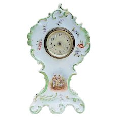 """Beautiful & Ornate Vintage Rosenthal 1900's Hand Painted """"Courting Couple"""" 8"""" Scenic & Floral Wild Flowers Clock"""