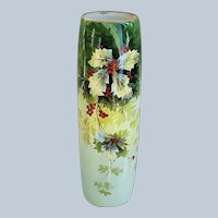 "Spectacular 16"" William Guerin Limoges France 1900 Hand Painted Christmas ""Holly & Berry"" Floral Vase"