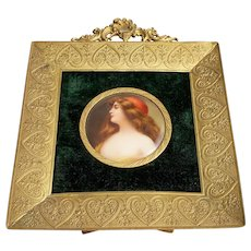 """Gorgeous Vintage Royal Vienna Pre-1900 Hand Painted """"Portrait of a Lady"""" Plaque in a 5-3/8"""" x 4-1/2"""" Ornate Brass Frame"""
