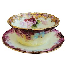 """Spectacular Tressemann and Vogt Limoges France 1900 Hand Painted """"Red, Pink, & Blue Violets"""" Mayonnaise Dish & Underplate by Pickard Artist, """"LeRoy"""""""