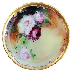"""Gorgeous Jean Pouyat Limoges France & Pickard Studio of Chicago 1900's Hand Painted """"Red, Pink, & White Roses"""" 8-3/4"""" Floral Plate by Listed Artist, """"Erhardt Seidel"""""""