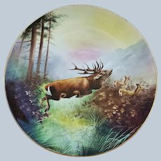 "Majestic 11-1/2"" Vintage Limoges France 1910-20's Hand Painted ""Elk in the Wild"" Scenic Charger by Artist, ""R. Stuart"""